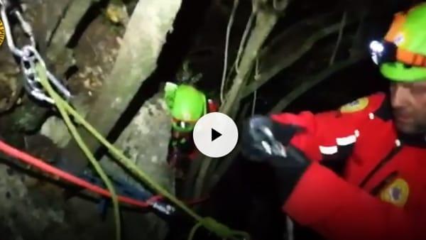 VIDEO Cane intrappolato in un dirupo, salvato dalla morte dal Soccorso Alpino: le immagini