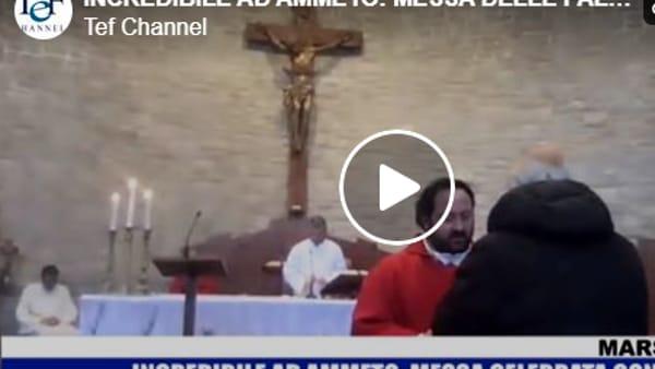 VIDEO  Nella chiesa di Ammeto è stata celebrata la domenica delle Palme con alcuni fedeli e tanto di comunione