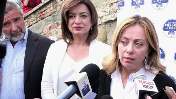 """VIDEO Elezioni Umbria, Meloni (FdI): """"Questa è una regione dalle grandi potenzialità non sfruttate, chi ha governato si è seduto"""""""